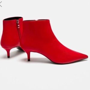 Zara Mid-Heel Red Ankle Booties - Size 41/US 10